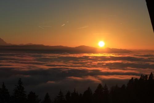 Leiblachtal mit allen Sinnen erleben - Sonnenuntergang über dem Bodensee