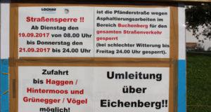 Lochau Pfänderstraße Asphaltierung SPERRE September 2017