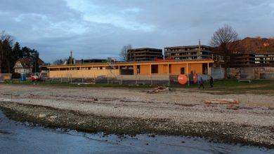 """Photo of """"Strandbad Lochau NEU"""" vor dem Wintereinbruch plangemäß unter Dach"""