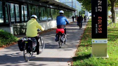 Radzählstelle am Bodensee-Radweg am Lochau